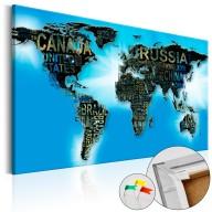 Obraz na korku  Niebieski świat [Mapa korkowa]