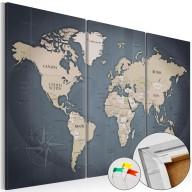 Obraz na korku  Antracytowy świat [Mapa korkowa]