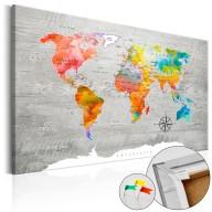 Obraz na korku  Wielobarwne podróże [Mapa korkowa]