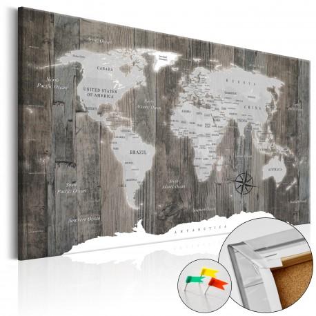Obraz na korku  Świat z drewna [Mapa korkowa]