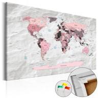 Obraz na korku  Różowe kontynenty [Mapa korkowa]