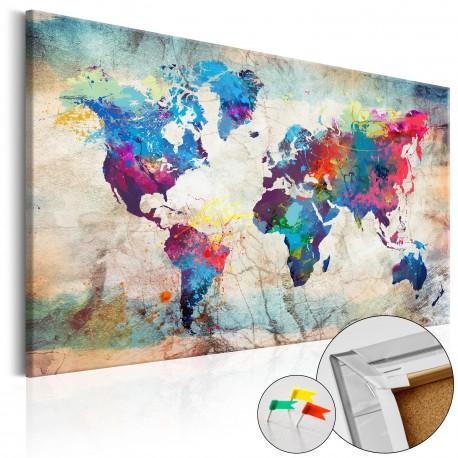 Obraz na korku  Mapa świata Kolorowe szaleństwo [Mapa korkowa]