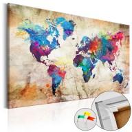 Obraz na korku  Mapa świata Styl miejski [Mapa korkowa]