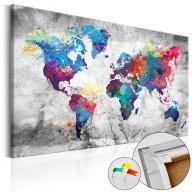 Obraz na korku  Mapa świata Szary styl [Mapa korkowa]