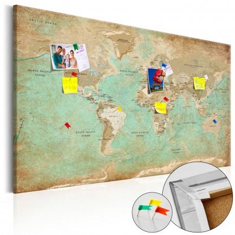 Obraz na korku  Seledynowa podróż [Mapa korkowa]