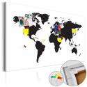 Obraz na korku - Mapa świata: Czarno-biała elegancja [Mapa korkowa]