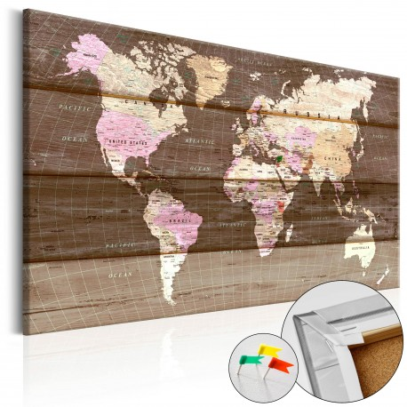 Obraz na korku  Drewniany świat [Mapa korkowa]