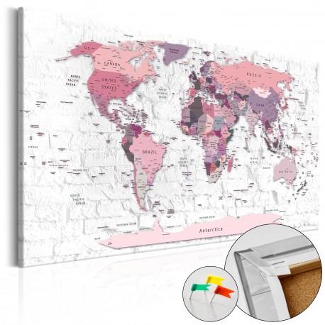 Obraz na korku  Różowe rubieże [Mapa korkowa]