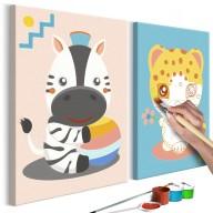 Obraz do samodzielnego malowania  Zebra i leopard