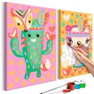 Obraz do samodzielnego malowania - Kaktus i miś