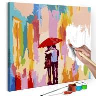 Obraz do samodzielnego malowania  Para pod parasolem (różowe tło)