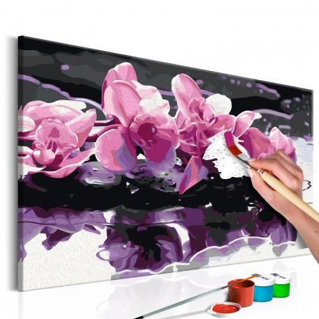 Obraz do samodzielnego malowania  Fioletowa orchidea