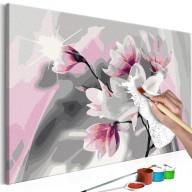 Obraz do samodzielnego malowania  Magnolia (szare tło)