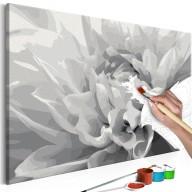 Obraz do samodzielnego malowania  Czarnobiały kwiat