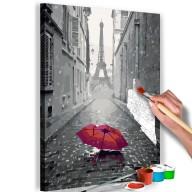 Obraz do samodzielnego malowania  Paryż (Czerwona parasolka)