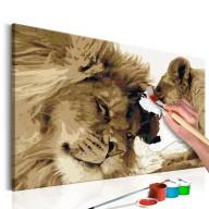 Obraz do samodzielnego malowania  Lew i lwica (miłość)