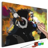 Obraz do samodzielnego malowania  Kolorowa małpa w słuchawkach