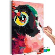 Obraz do samodzielnego malowania  Małpa w słuchawkach