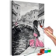 Obraz do samodzielnego malowania  Wenecja (dziewczyna w różowej sukience)