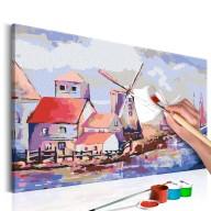 Obraz do samodzielnego malowania  Wiatraki (krajobraz)
