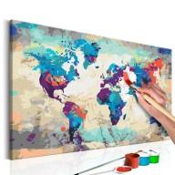 Obraz do samodzielnego malowania  Mapa świata (błękitnoczerwona)