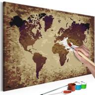 Obraz do samodzielnego malowania  Mapa świata (brązy)