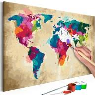 Obraz do samodzielnego malowania  Mapa świata (kolorowa)