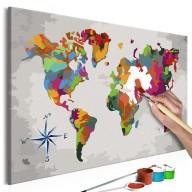 Obraz do samodzielnego malowania  Mapa świata (z różą wiatrów)