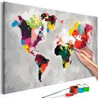 Obraz do samodzielnego malowania  Mapa świata (jaskrawe kolory)