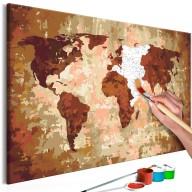 Obraz do samodzielnego malowania  Mapa świata (kolory ziemi)