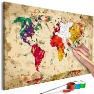 Obraz do samodzielnego malowania  Mapa świata (plamy barwne)