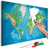 Obraz do samodzielnego malowania  Mapa świata (niebieskozielona)