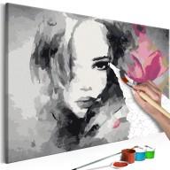Obraz do samodzielnego malowania  Czarnobiały portret z różowym kwiatem