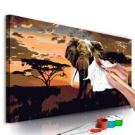 Obraz do samodzielnego malowania  Słoń w Afryce (brązy)