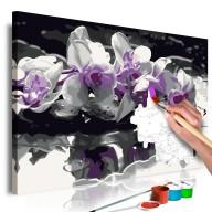 Obraz do samodzielnego malowania  Fioletowa orchidea (czarne tło i odbicie w wodzie)