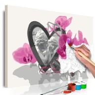 Obraz do samodzielnego malowania  Aniołki (serce i różowa orchidea)