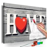 Obraz do samodzielnego malowania  Home z czerwonym sercem