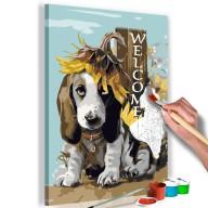 Obraz do samodzielnego malowania  Pies i słoneczniki