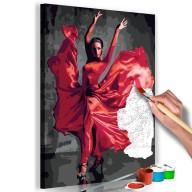 Obraz do samodzielnego malowania  Czerwona suknia