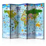 Parawan 5częściowy  Mapa świata dla dzieci II [Room Dividers]