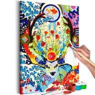 Obraz do samodzielnego malowania  Jeleń i kwiaty