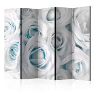 Parawan 5częściowy  Atłasowa róża (turkusowy) [Room Dividers]