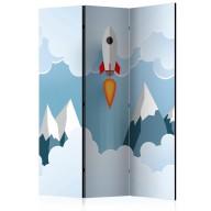 Parawan 3częściowy  Rakieta w chmurach [Room Dividers]