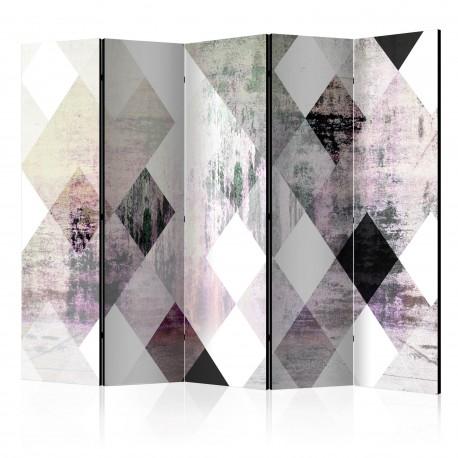 Parawan 5częściowy  Rombowa szachownica (różowy) [Room Dividers]
