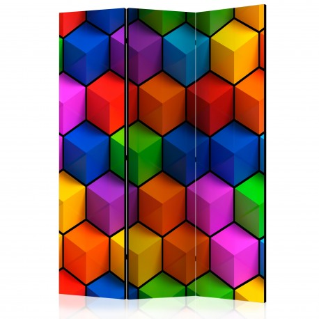 Parawan 3częściowy  Kolorowe pola geometryczne [Room Dividers]