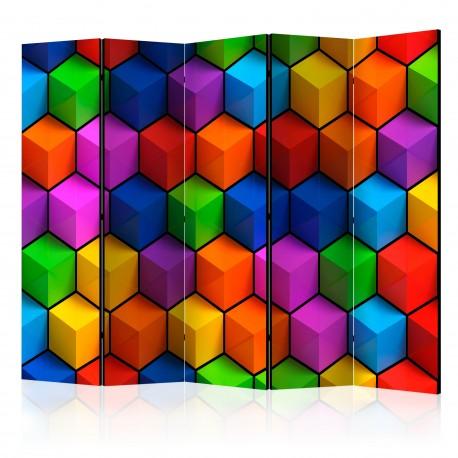 Parawan 5częściowy  Kolorowe pola geometryczne [Room Dividers]