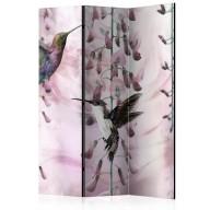 Parawan 3częściowy  Latające kolibry (różowy) [Room Dividers]