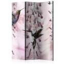 Parawan 3-częściowy - Latające kolibry (różowy) [Room Dividers]