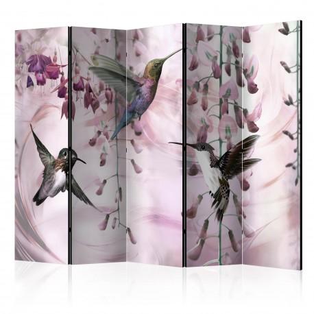 Parawan 5częściowy  Latające kolibry (różowy) [Room Dividers]