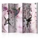 Parawan 5-częściowy - Latające kolibry (różowy) [Room Dividers]